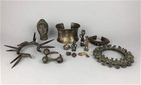 Group of 13 African Bronze Objects