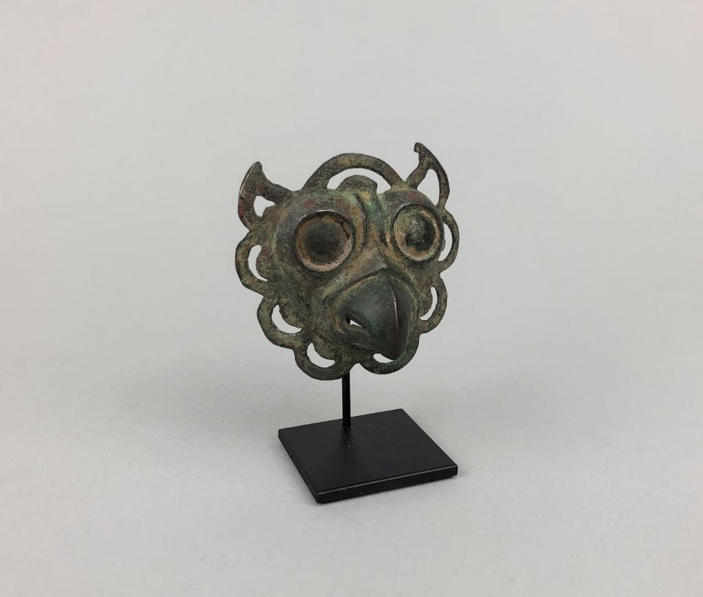 Archaic Chinese Bronze Owl Head Mount