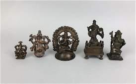 Five Indian Bronze Ganesh Figures