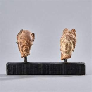 Two Greco-Roman Terracotta Heads