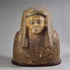 Ancient Egyptian Sarcophagus Lid Fragment