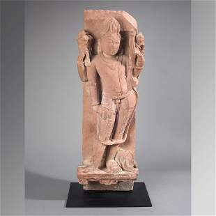 Indian Sandstone Figure of a Male Deity