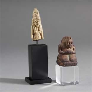 Egyptian Faience Amulet & Block Figure