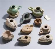 Ten Ancient Pottery & Bronze Lamps