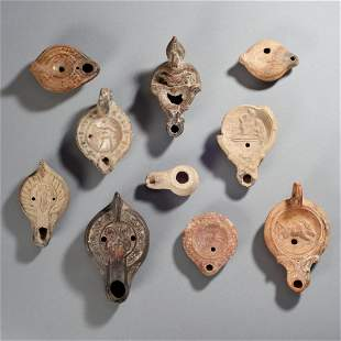 Ten Ancient Pottery Lamps