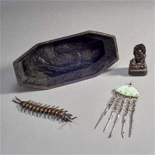 Group of Four Pieces of Asian Metalware