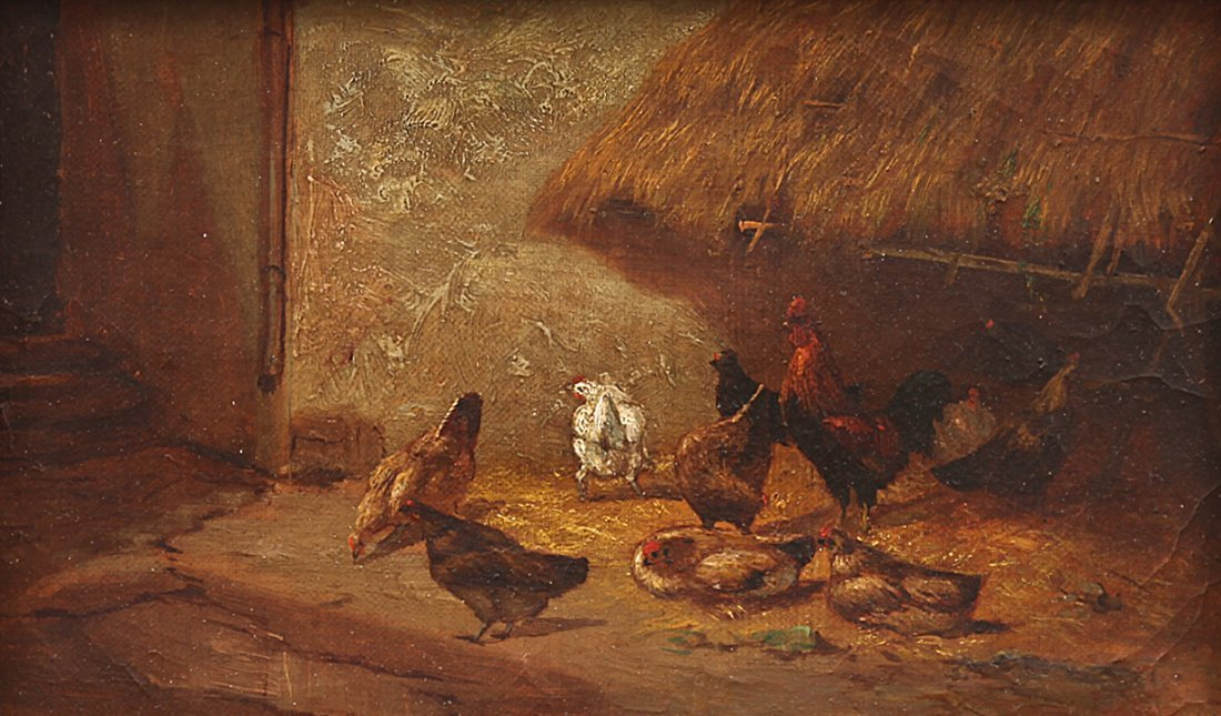 Chicken & Rooster Barnyard Farm Scene Oil Painting