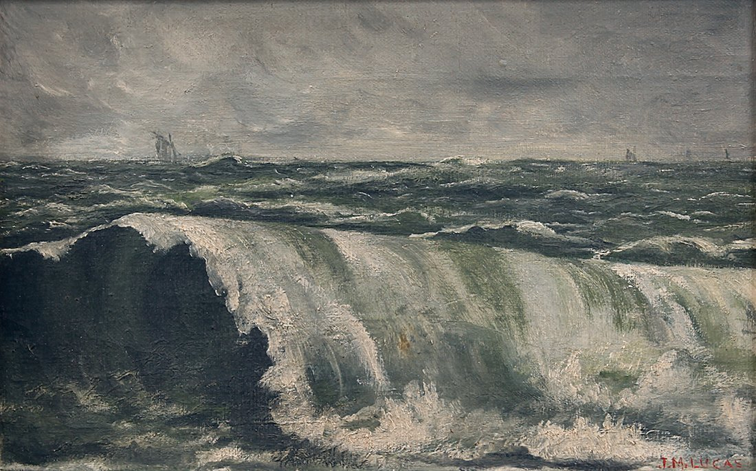 J. M. Lucas O/C Painting of Waves & Sailboats