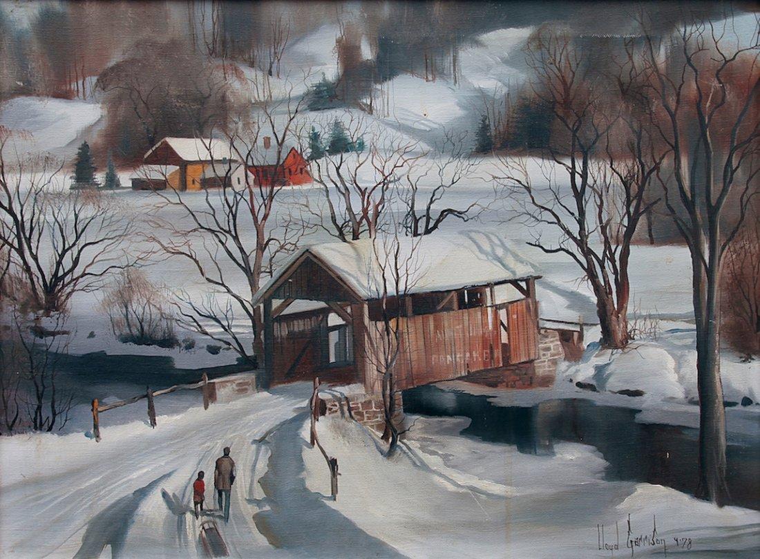 Lloyd Garrison Winter Covered Bridge Oil Painting