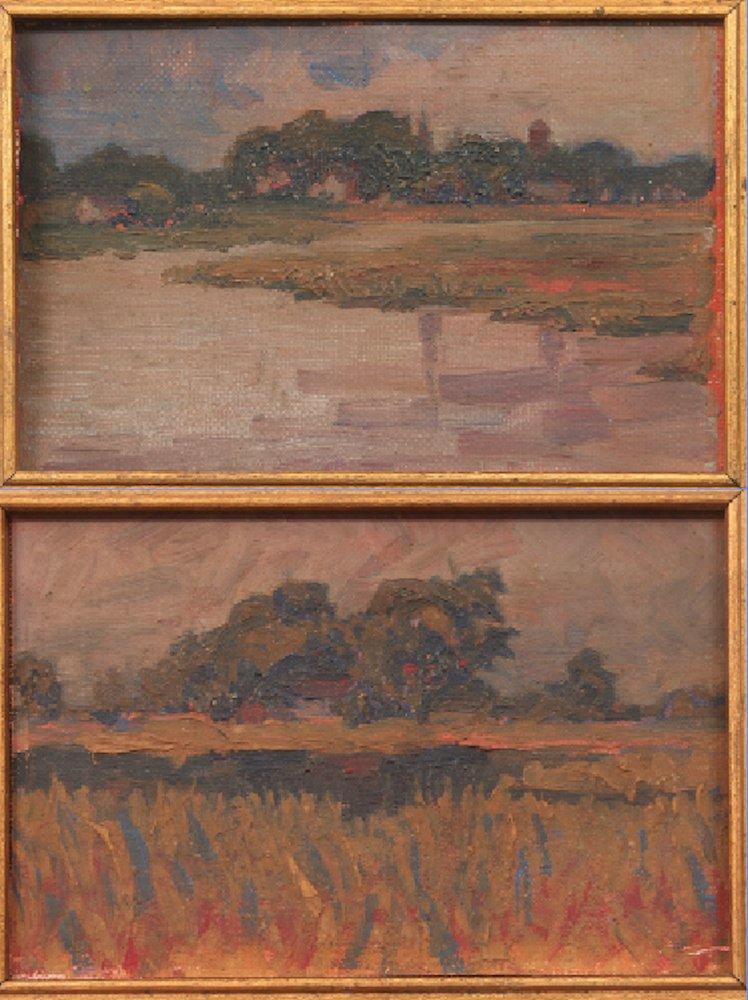 2 Miniature Impressionist Landscape Oil Paintings