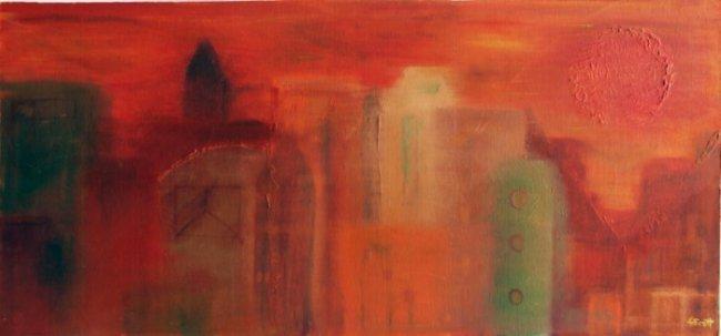 Louise Scott,  Orange Skyline O/B Painting