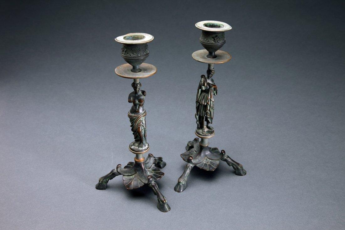 Antique Bronze Grand Tour Figural Candlesticks