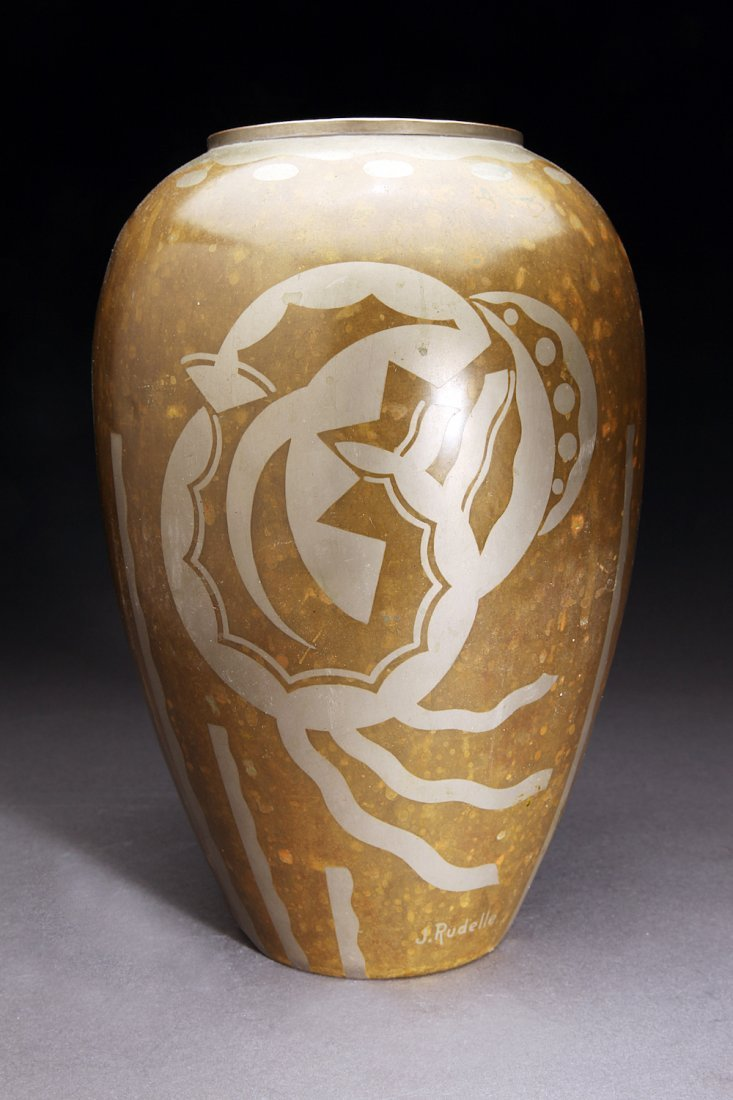 Large French J. Rudelle Art Deco Dinanderie Vase