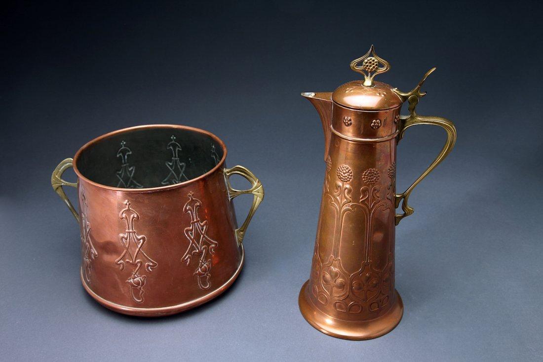 Art Nouveau Copper Mixed Metal Ewer & Ice Bucket