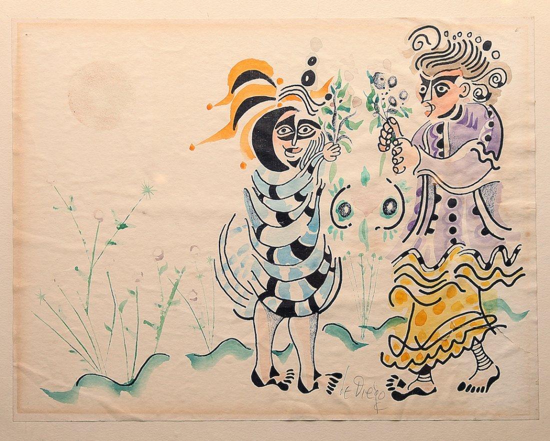 Julio de Diego Abstract Figures Watercolor