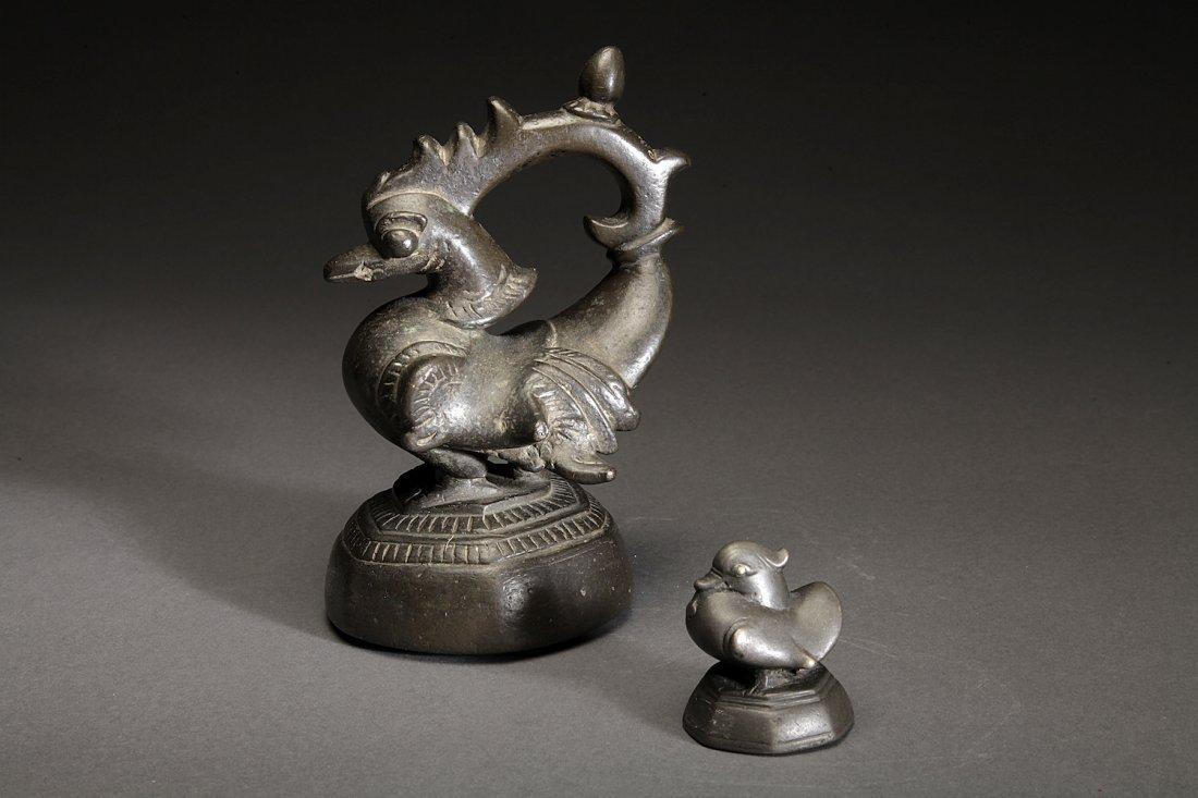 2 Fine Antique Burmese Bronze Opium Weights