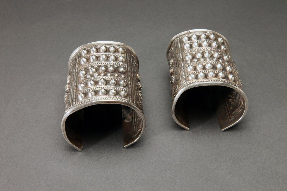 Pair Antique Miao Culture Silver Cuffs