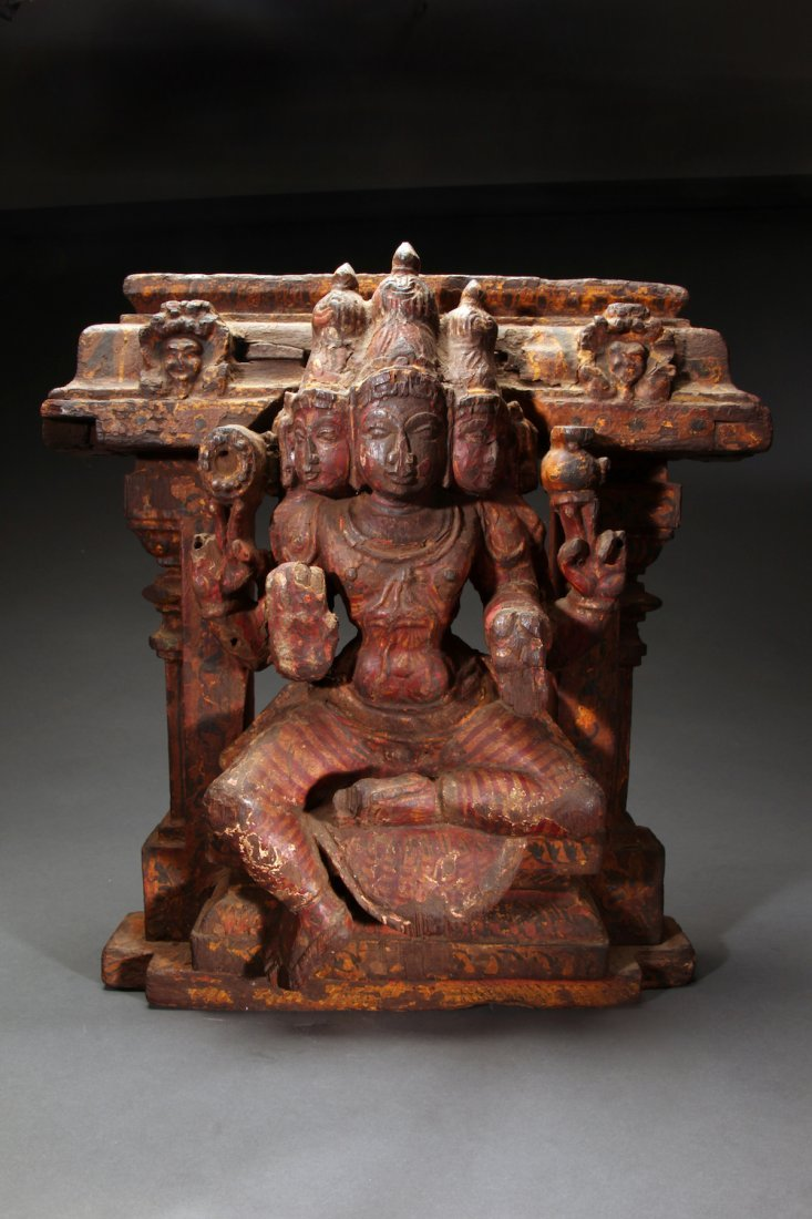 Indian Wooden Figure of Siva ca. 17th- 18th Century