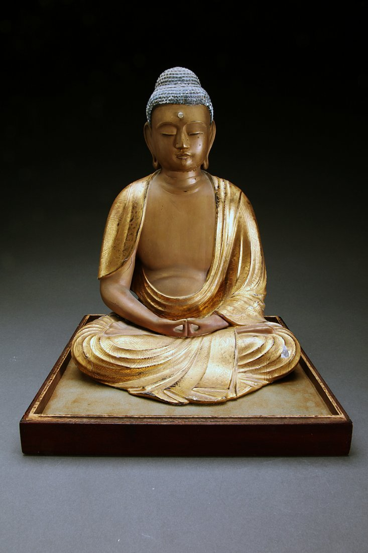 Antique Japanese Gilt Wood Seated Buddha