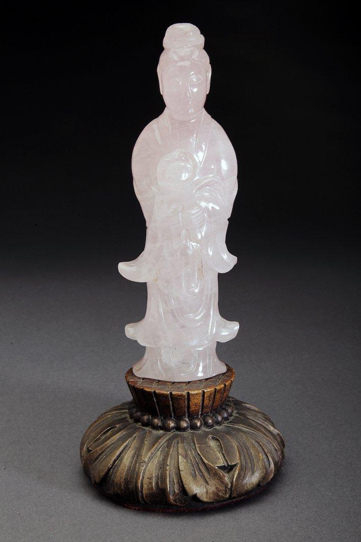 Antique Chinese Rose Quartz Figure of Quanyin