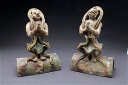 Pair Ming Dynasty Figural Glazed Roof Tiles