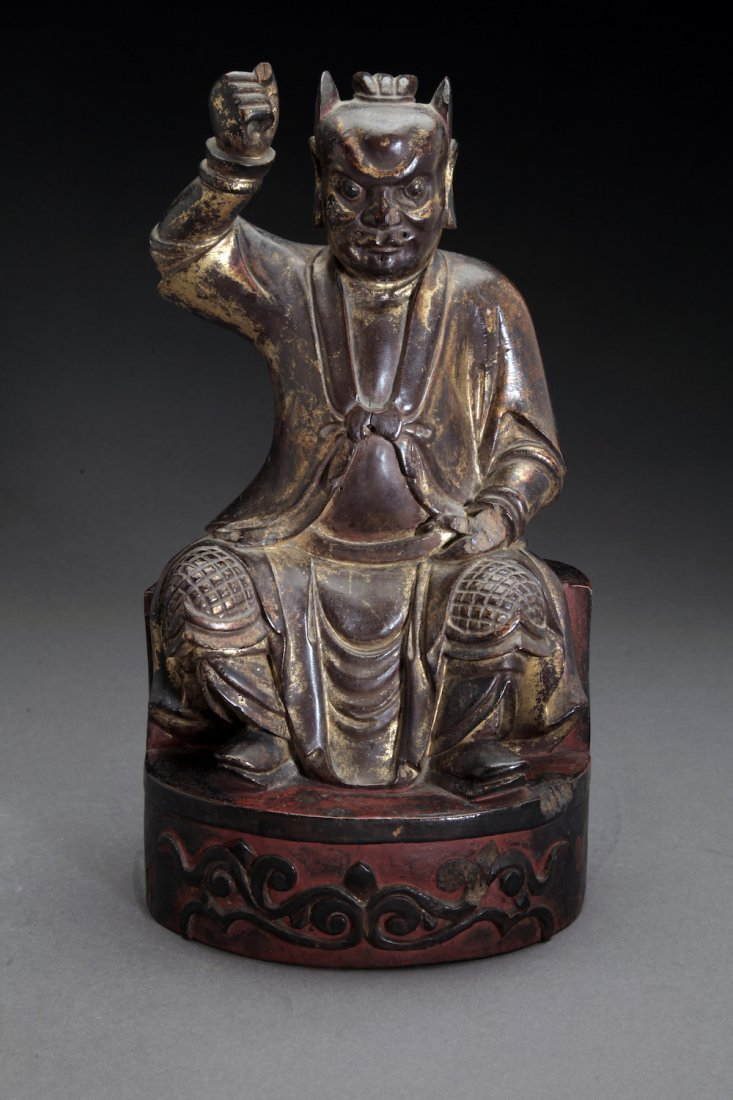 18C Chinese Carved Seated Wooden Deity