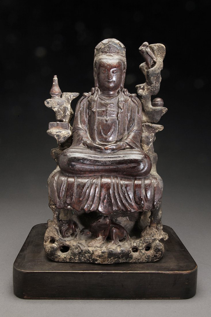 Antique Wooden Chinese Figure of Quanyin