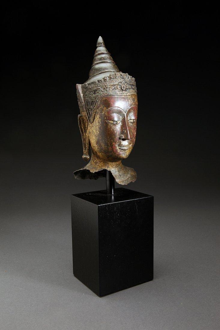 Antique 16-17th Century Thai Bronze Head of Buddha