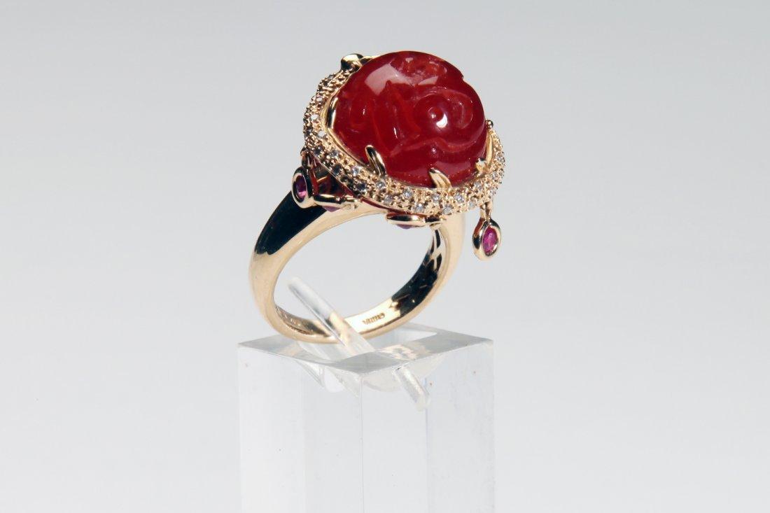 Chinese Gold Dragon Diamond & Ruby Carnelian Ring