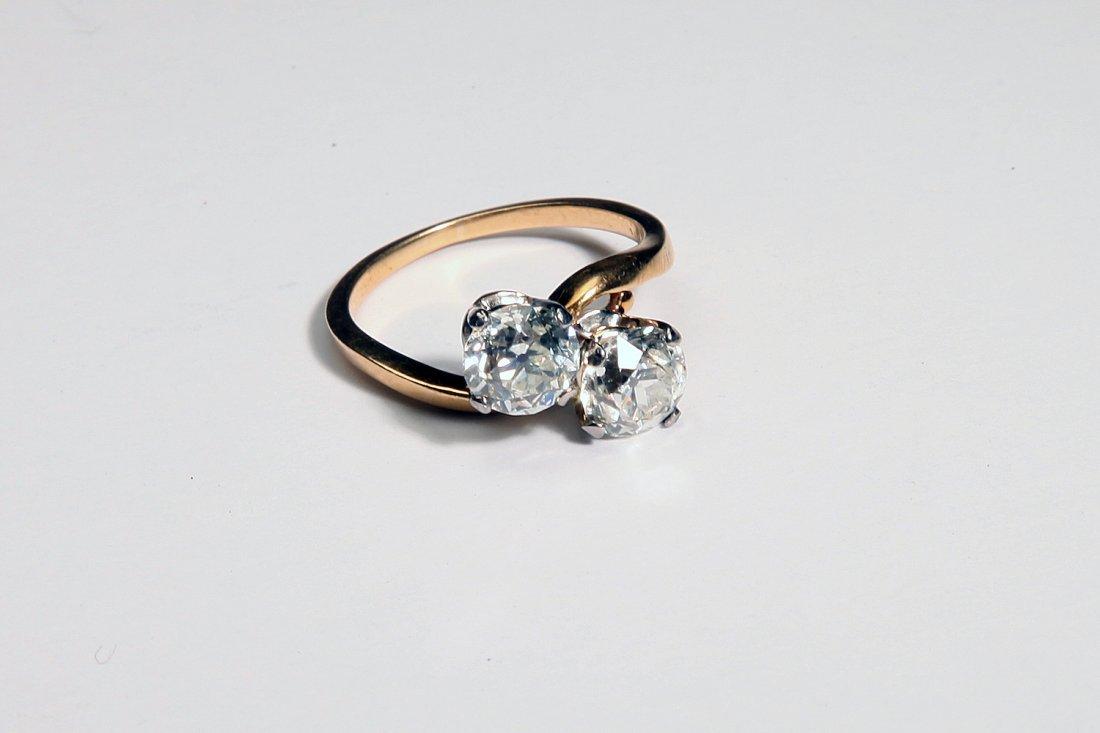 18K Gold Ring 2 Round European Cut Diamonds 1.92 Ct