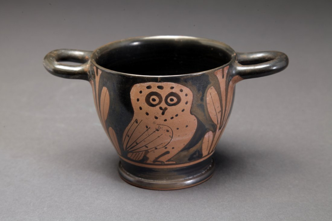 Fine Large Ancient Greek Red-figure Owl Cup