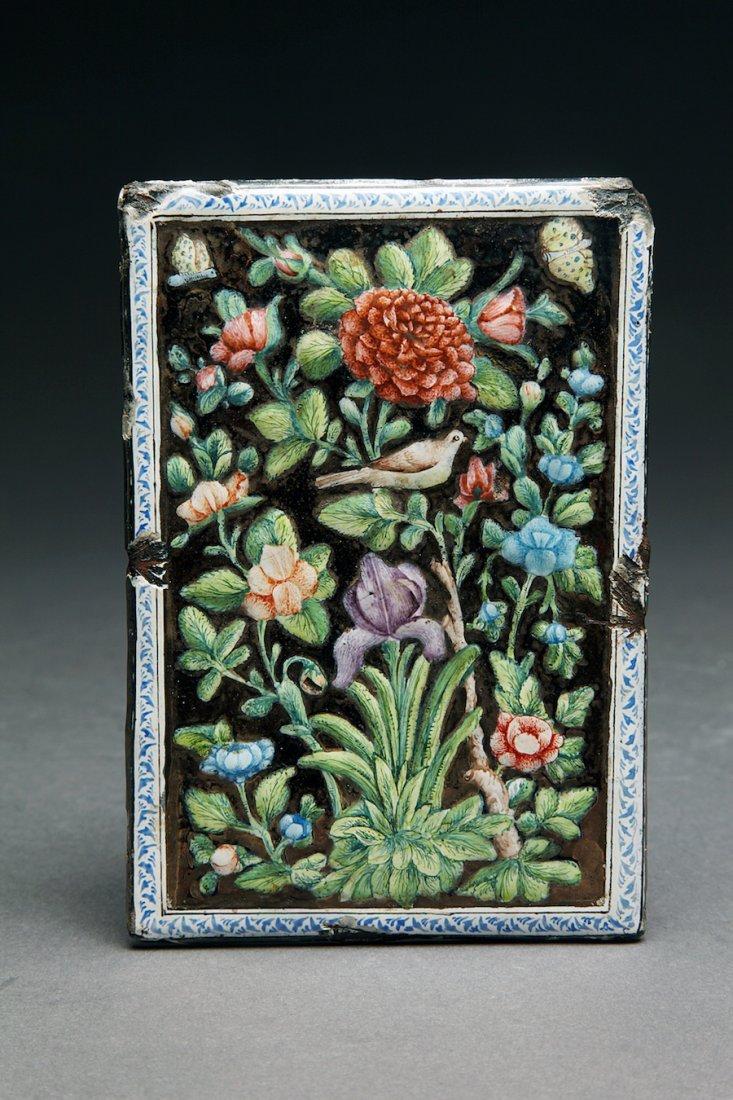 Antique Persian Islamic Enameled Mirror Plaque