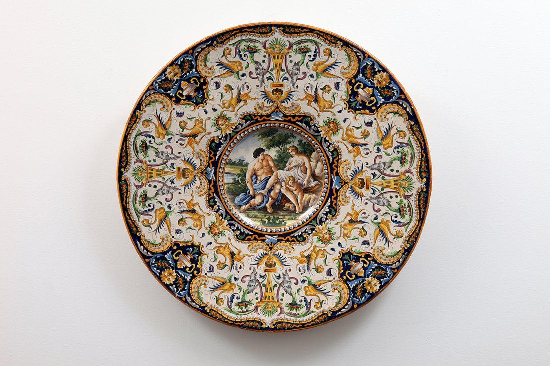 2 Large 19th Century Majolica Faience Chargers