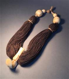 Important Lei Niho Palaoa Hawaiian Hair Necklace