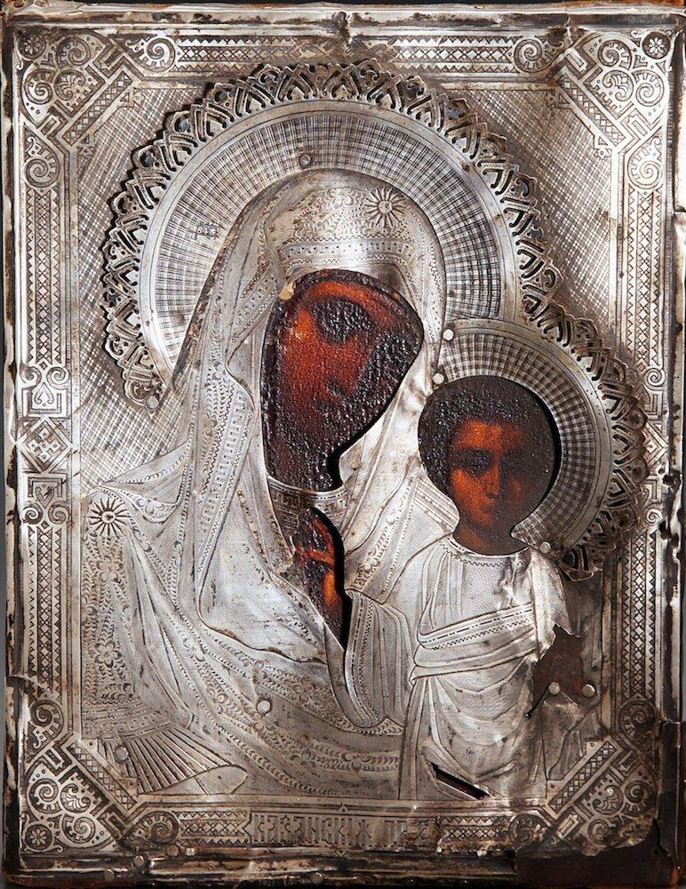 Silver &  Painted Wood Russian Kazan Icon