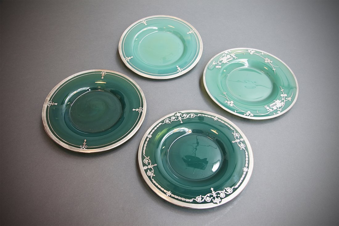 4 French Sterling Overlay Green Opalescent Plates