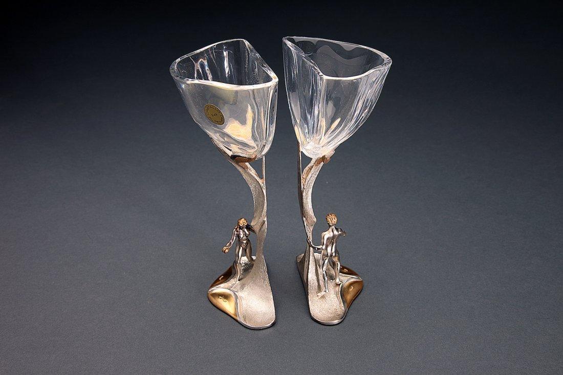 Pair Wedding Cups Adam & Eve Sterling, Crystal