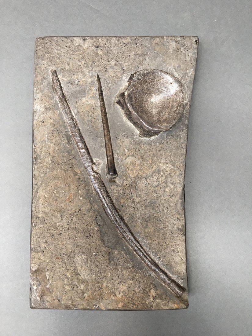 Plate with Icthyosaur Vertibrae, Rib, & Belemnite