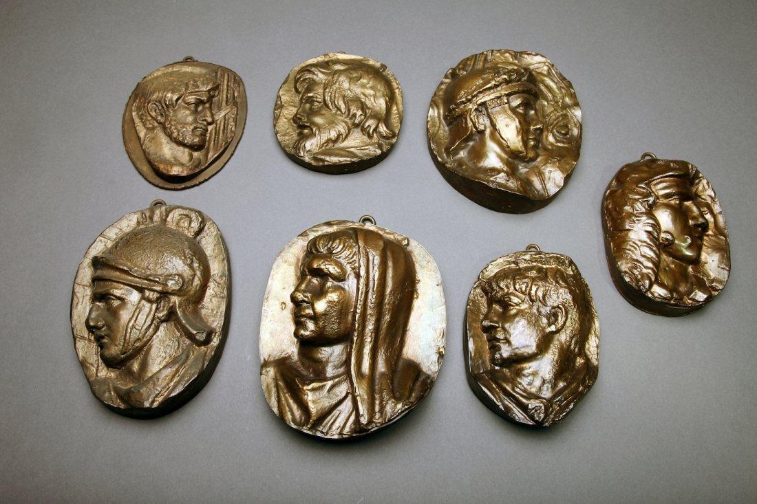 7 Antique  Bronze Plaques of Classical Portraits
