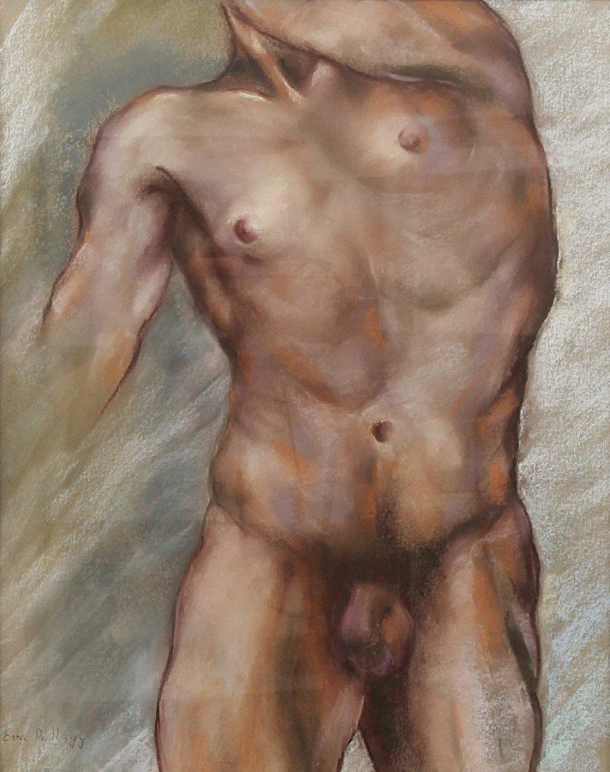 Eva De Nagy Nude Male Study Pastel Painting