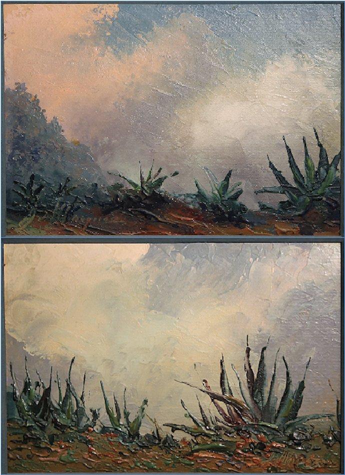 2 Jose Marquez Western Landscape Oil Paintings
