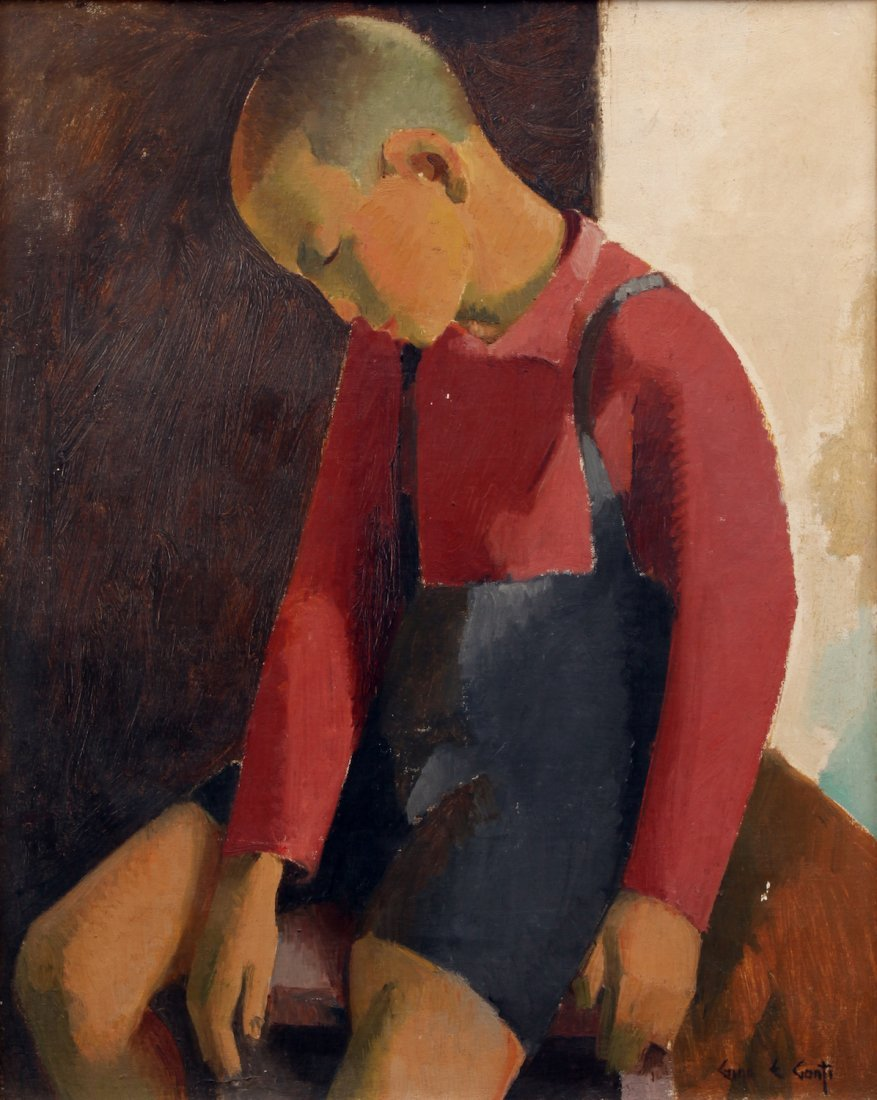 Gino Conti O/C Portrait of Asian Boy Painting