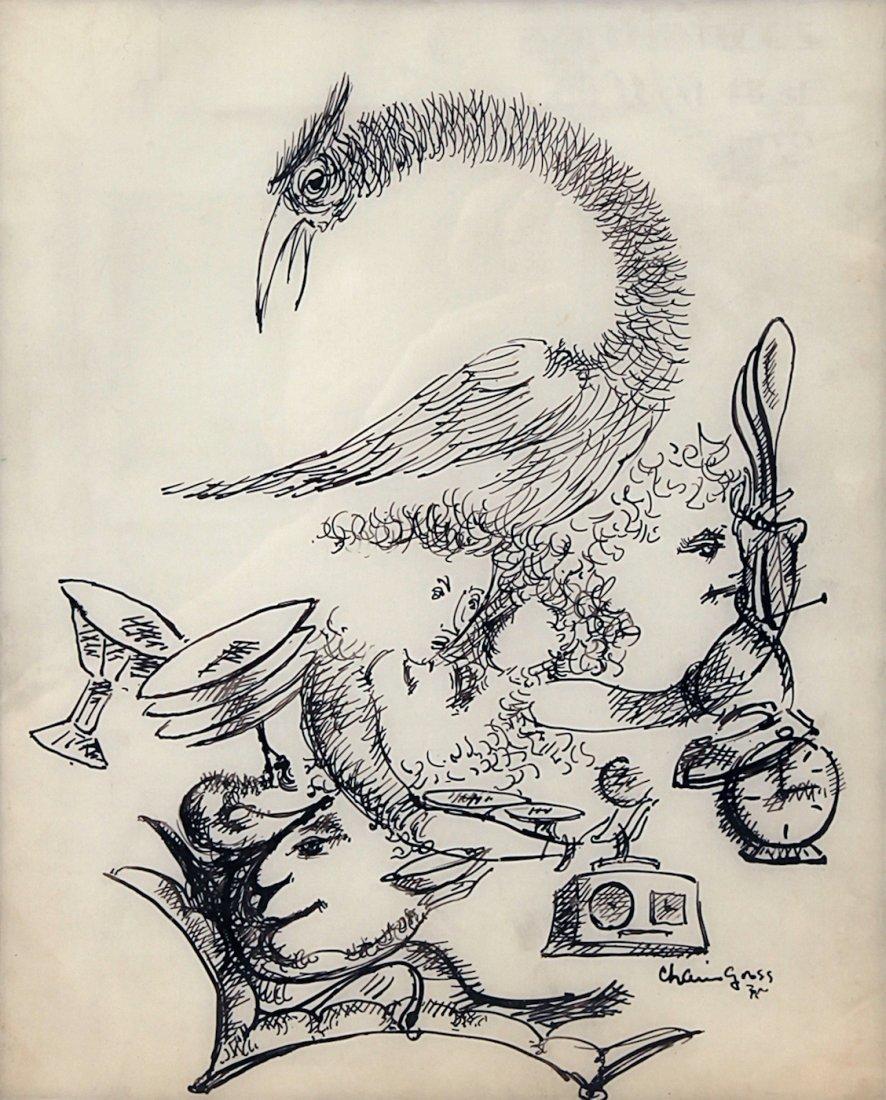 Ink Drawing of Bird Chaim Gross