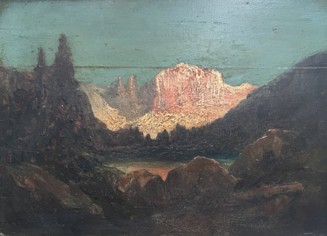 Antique Oil on Board Painting of Yosemite