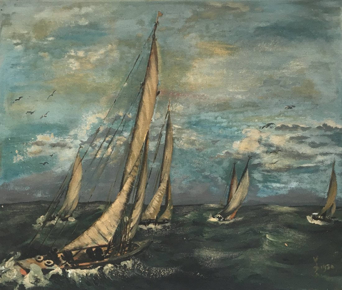 Americas Cup Sailboat Oil on Canvas