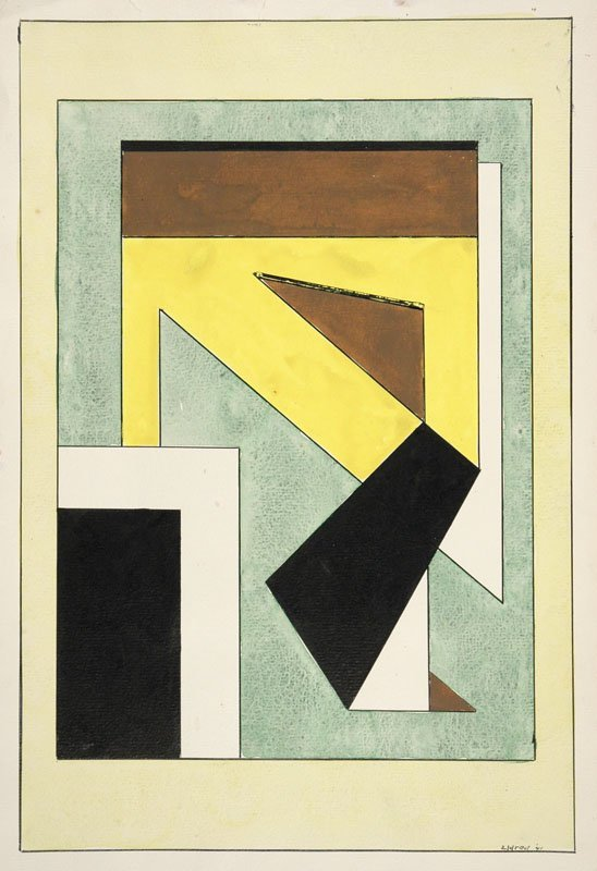 Modernist Composition with Yellow, Green & Brown