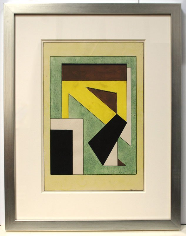Modernist Composition with Yellow, Green & Brown - 2
