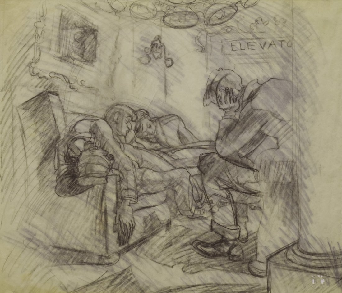 """Study for """"After Curfew"""" by Ben Messick c. 1930s"""