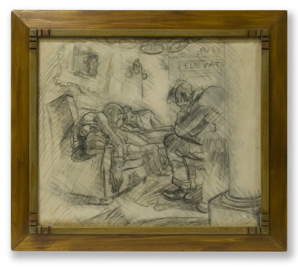 """Study for """"After Curfew"""" by Ben Messick c. 1930s - 2"""