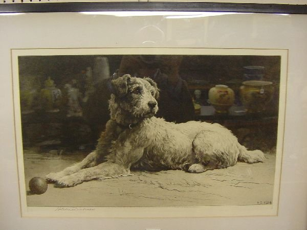 1008: HERBERT DICKSEE etching of a terrier dog with a b